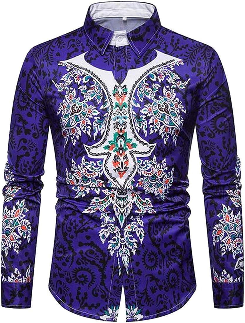 MMCP Mens Formal Button Down African Print Slim Dress Shirts
