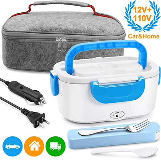 electric lunch box Stainless steel inner car lunch box 1.3L plug-in heating lunch box,