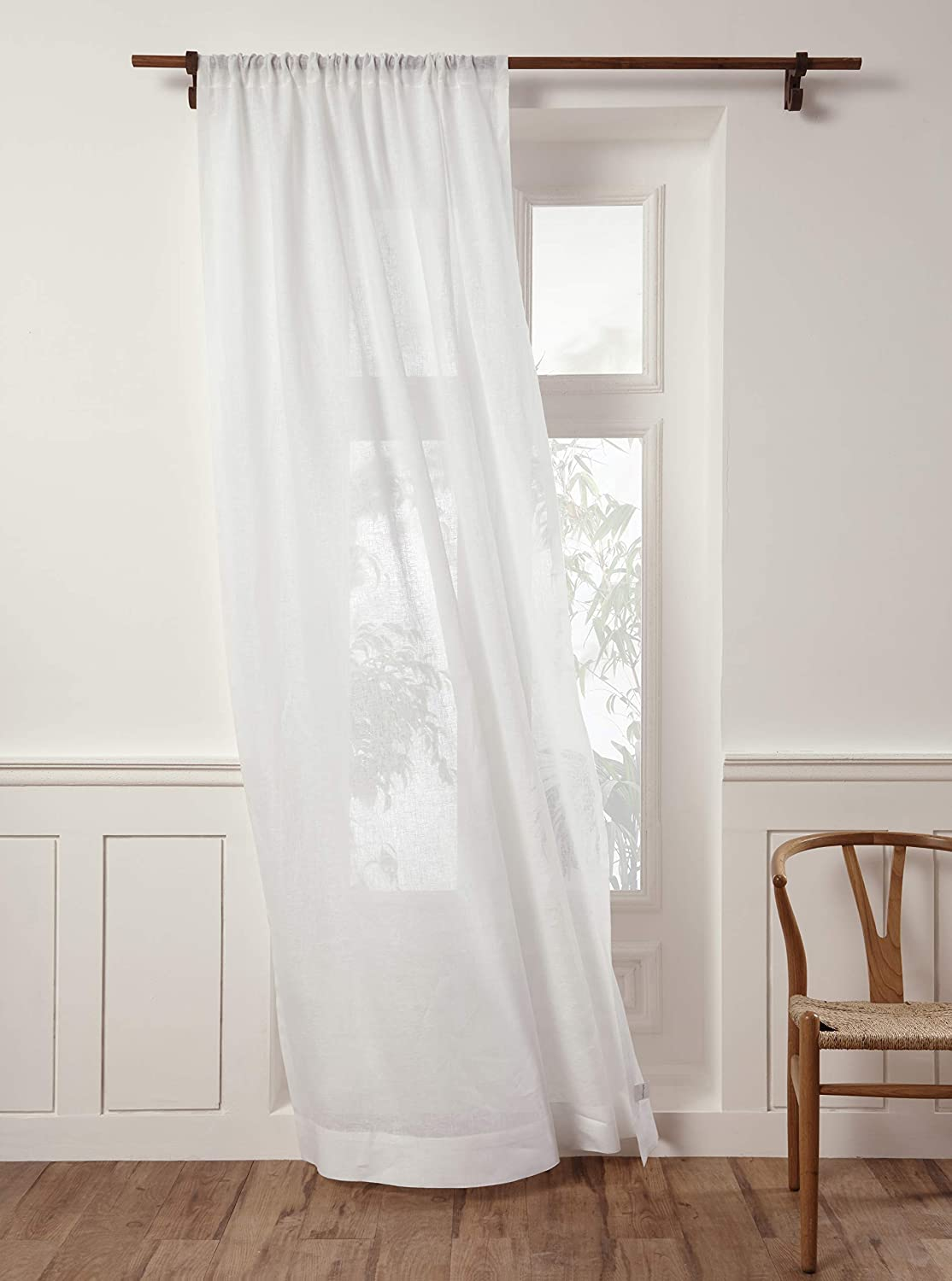Solino Home 100% Pure Linen Sheer Curtain – 52 x 96 Inch White Rod Pocket Window Panel – Handcrafted from European Flax