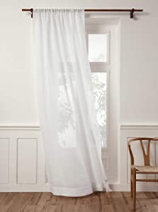 Solino Home 100% Pure Linen Sheer Curtain – 52 x 108 Inch White Rod Pocket Window Panel – Handcrafted from European Flax