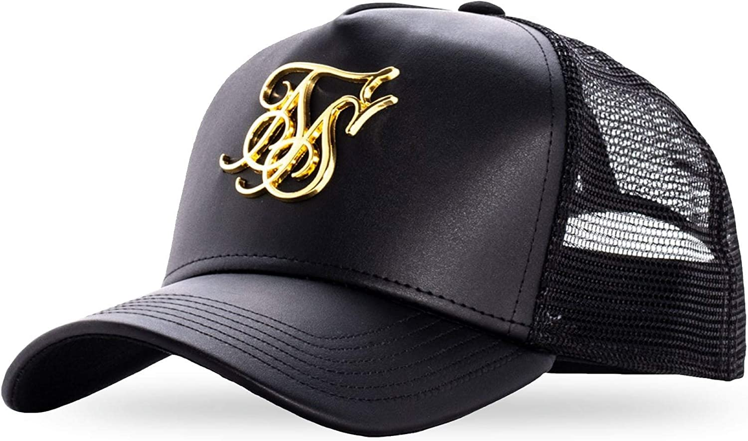 Sik Silk SS-15265 Bent Peak 3D Gold Logo Cap - Black Black: Amazon ...