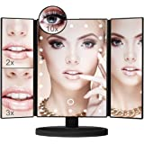 Aiskki Led Makeup Mirror Vanity Mirror Tri-Fold with 24 LED Lights 3X/2X/1X Magnification,180 Degree Free Rotation,Table Countertop Cosmetic Bathroom Mirror