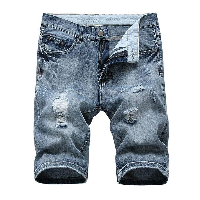 FRAUIT Pantalones Cortos de Mezclilla de Agujero de Los Hombres Pantalones Cortos Casuales de Verano Pantalones de Jeans Retro Pantalones Clásicos ...