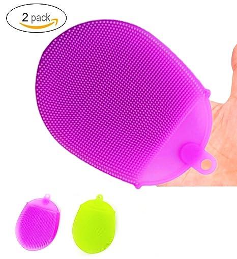 SanerDirect - 2 esponjas antibacterianas de silicona para lavavajillas, aptas para uso alimentario, antiresbaladizas