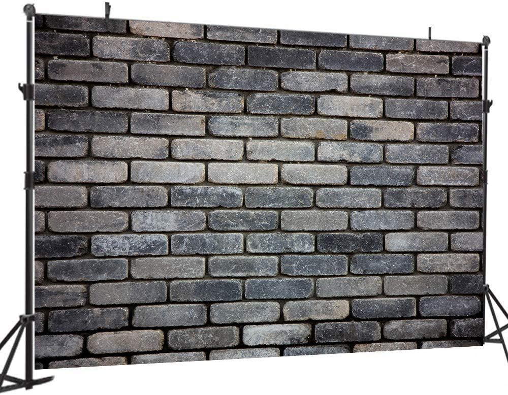 WOLADA 7X5FT Vintage Gray Brick Wall Backdrop Grayness Block Photography Backdrops Birthday Friends Party Background Newborn Baby Shower Adult Portrait Selfie Wallpaper Photographer Props 11873
