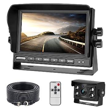 R/ückfahrkamera-Set mit 7-LCD-Monitor /& 170/° Weitwinkel- R/ückfahrkamera IP68 wasserdicht 18IR Nachtsicht 12-24 Volt f/ür LKW//Anh/änger//Bus//Van//Landwirtschaft//Schwertransport
