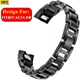 TASLAR Stainless Steel Metal Replacement Accessory Bracelet Strap Wrist Watch Band for Fitbit Alta Hr (Black)