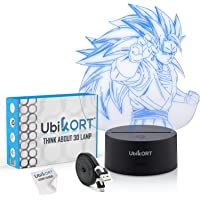 UbiKORT 3D Lamp Illusion Super Saiyan Goku Night Light Great Gift Present for Kids and Adults - Office & Bedroom Decor…
