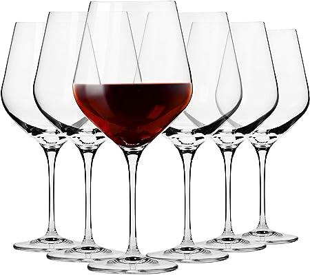 Krosno Grande Copas de Vino Tinto | Conjunto de 6 Piezas | 860 ML | Splendour Collection Uso en Casa, Restaurante y en Fiestas | Apto para Microondas y Lavavajillas