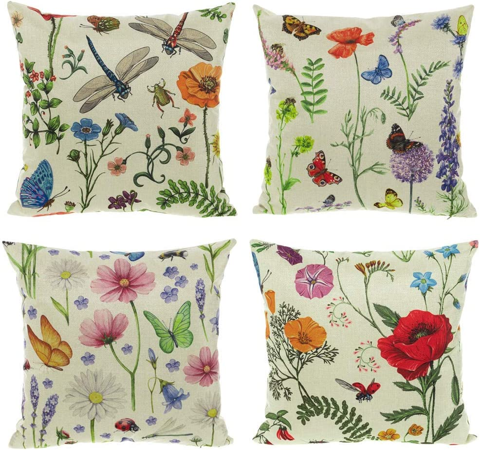 "All Smiles Bench Pillows Outdoor Patio Cushion Garden Spring Flowers Throw Pillow Cases Summer Farmhouse Home Decor Linen Cushion Covers 18"" X 18"" Set of 4 for Sofa,Butterfly Dragonfly Ladybug"