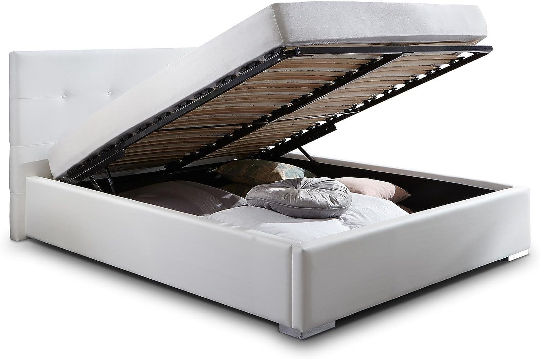 Cama acolchada Betty de piel sintética con cajones, somier 180 x 200, blanco, cama doble