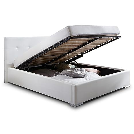 Polsterbett Bett Mit Bettkasten 140x200 Weiß Betty Lattenrost Doppelbett Kunstleder