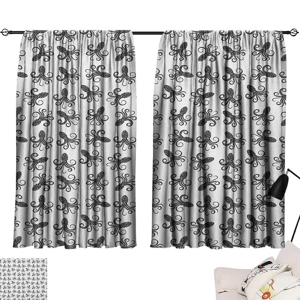 Pattern25 W72  x L72  Beihai1Sun Octopus Night Darkening Curtains Ocean Adventure Themed Pattern with Various Elements in Cartoon Style for Kids Curtain for Living Room Multicolor W63 x L45