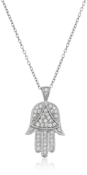 Amazon sterling silver and cubic zirconia hamsa hand of god sterling silver and cubic zirconia hamsa hand of god pendant necklace 18quot aloadofball Choice Image