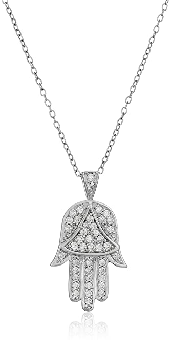 Amazon sterling silver and cubic zirconia hamsa hand of god sterling silver and cubic zirconia hamsa hand of god pendant necklace 18quot aloadofball Image collections