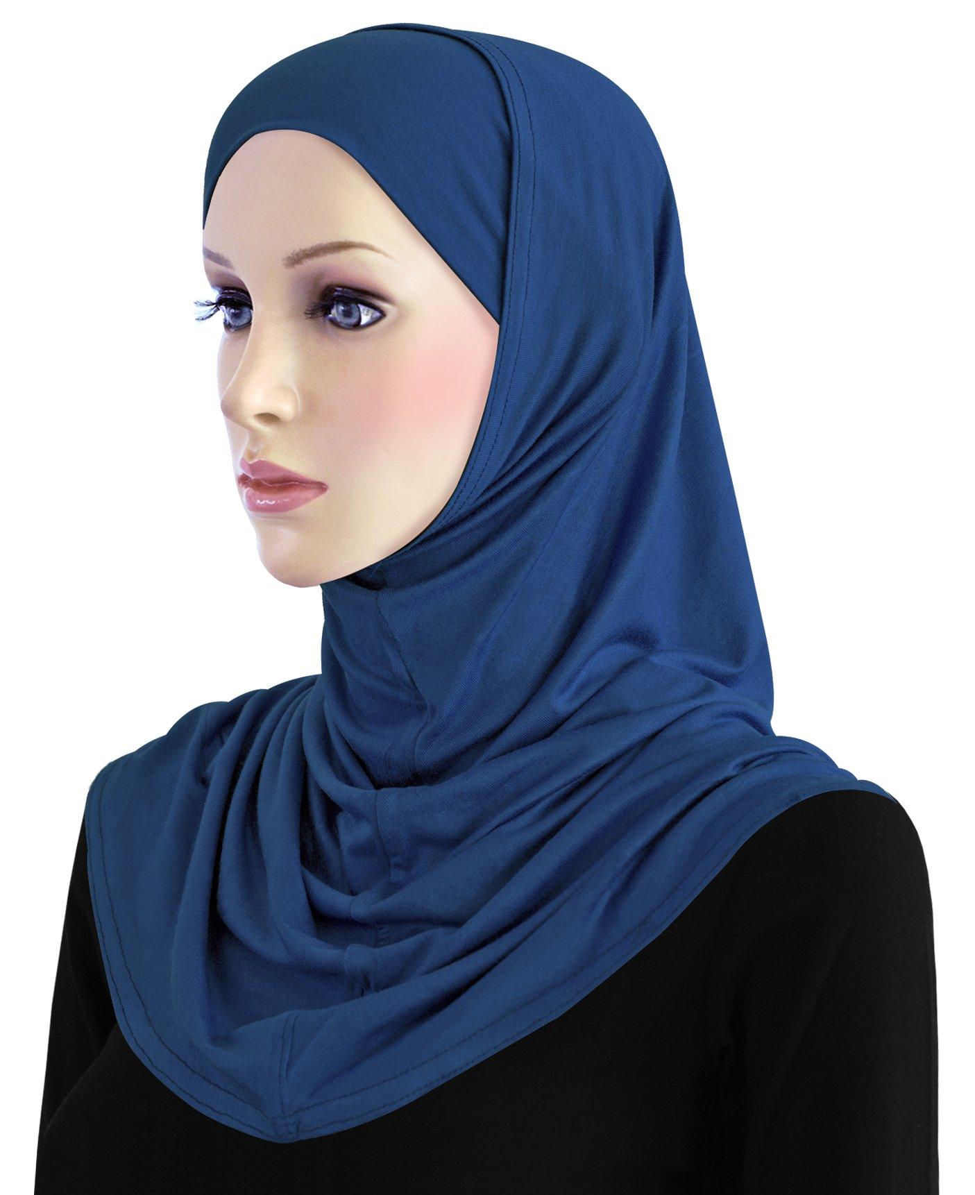 Cotton Hijab 2 piece Amira Set Easy Instant Pull-On Hood & Tube Cap (Royal Blue) by Khatib Fashions (Image #1)