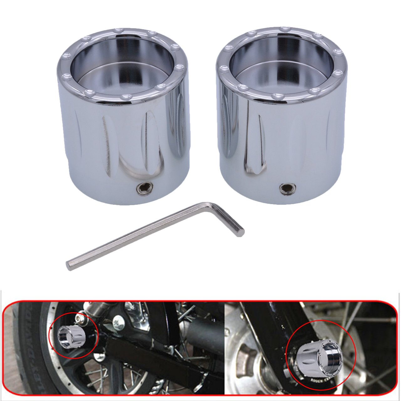 KaTur Black CNC Deep Edge Contrast Cut Front Axle Nut Cover for Harley Dyna V-Rod Touring Sportster XL883 XL1200 - Set