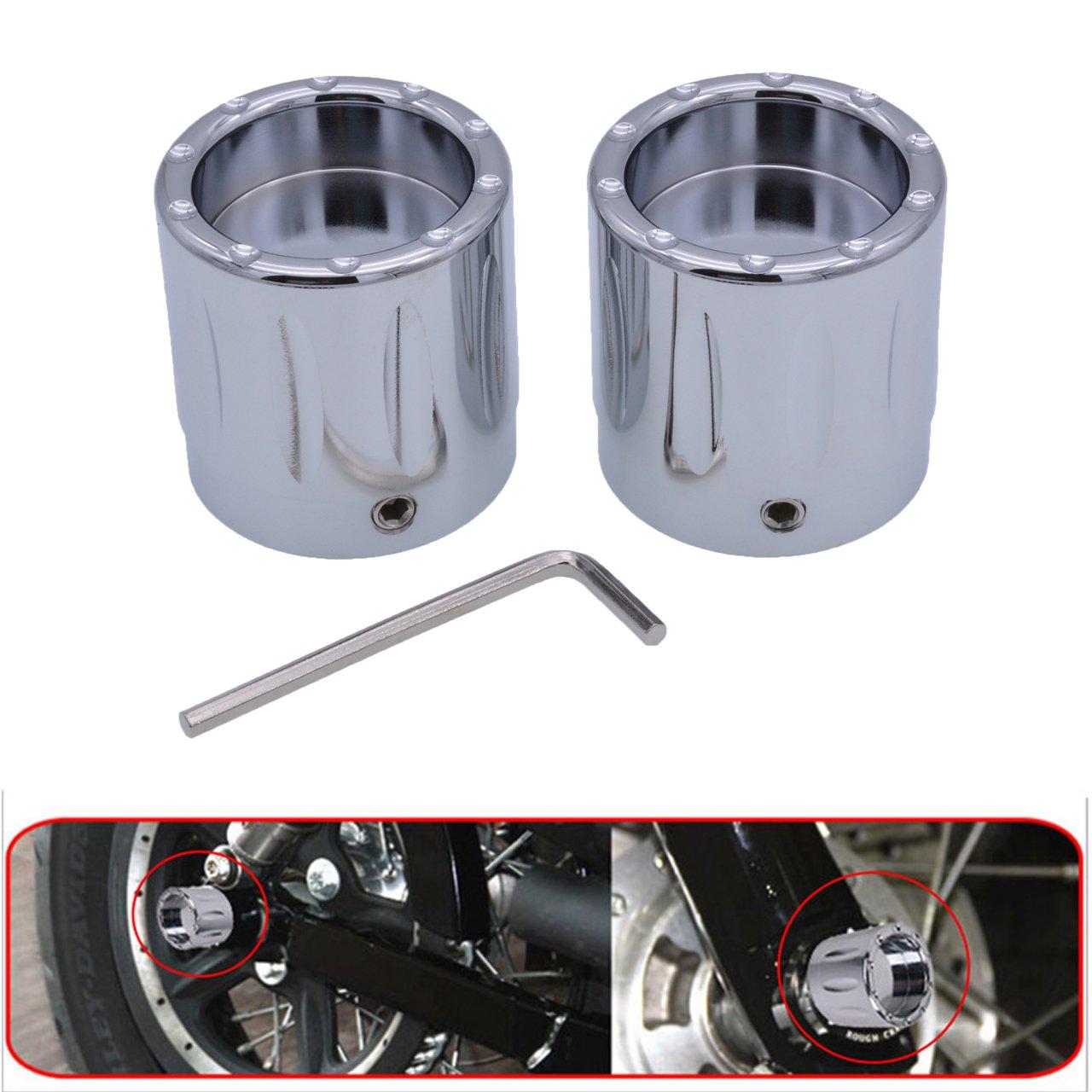 KaTur Negro CNC Deep Edge Contraste Corte Tapa Tuerca del Eje Delantero para Harley Dyna V-Rod Touring Sportster XL883 XL1200 –  Set