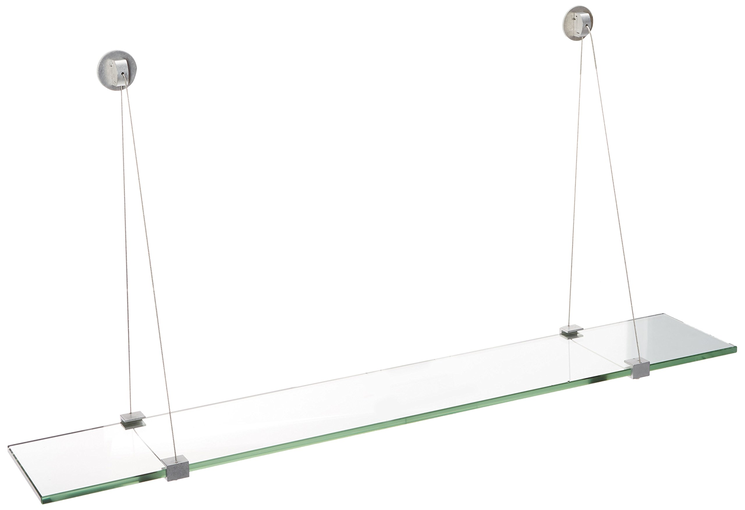 Spancraft Glass Crane Glass Shelf, Brushed Steel, 10 x 36
