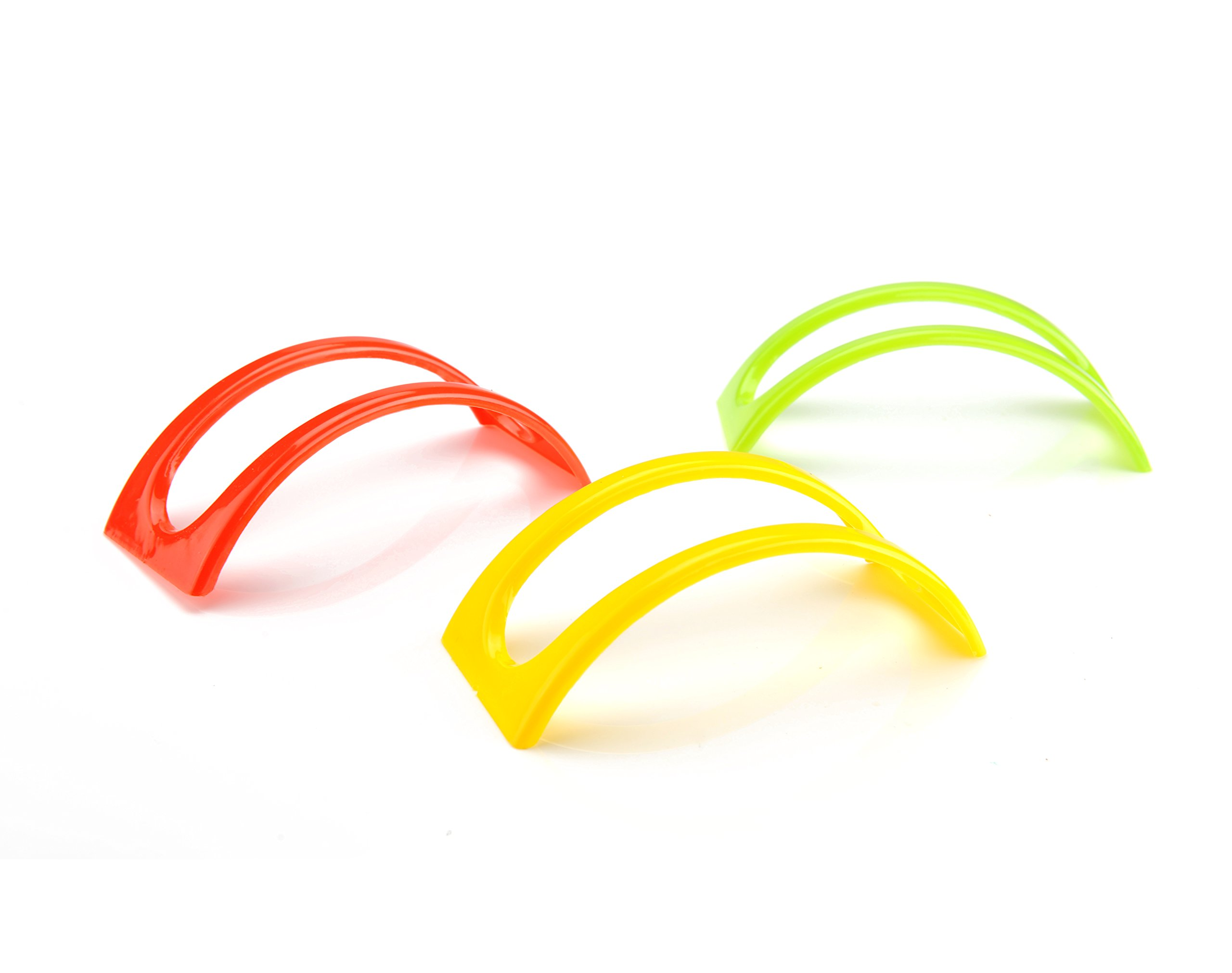 TopKitch Set of 12 Stackable Taco Holders for Hard or Soft Shells - (4 Red, 4 Yellow and 4 Green)