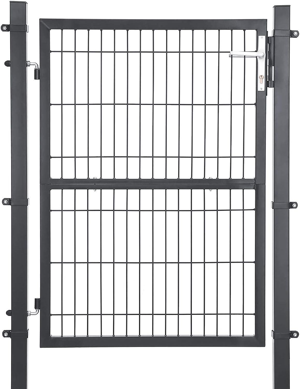 SONGMICS Puerta de Jardín de Hierro Galvanizado, Puerta para Valla, Robusta y Duradera, con Cerradura, Manija y Llave, 106 x 125 cm (Longitud x Altura), Gris GGD175GY