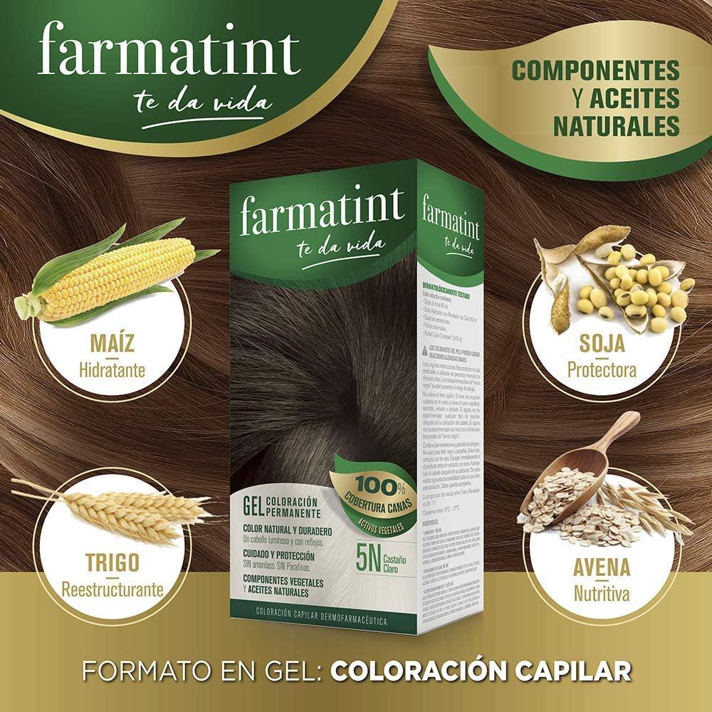 Farmatint Gel 5N Castaño Claro   Color natural y duradero   Componentes vegetales y aceites naturales   Sin amoníaco   Sin Parabenos   ...