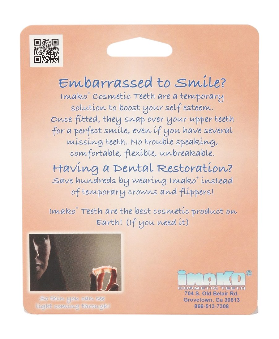 Imako Cosmetic Teeth 2 Pack. (Large, Natural) Uppers Only- Arrives Flat. Fit at Home Do it Yourself Smile Makeover!