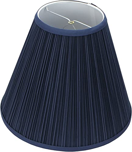 FenchelShades.com Lampshade 6 Top Diameter x 13 Bottom Diameter x 11 Slant Height with Clip-On Attachment for Standard Edison-Style Lightbulb Pleated Navy Blue