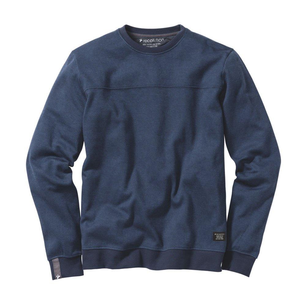 Recolution Herren Sweat-Shirt Bio-Baumwolle Blau Jacquard XL