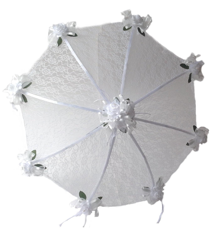 Amazon Decorated Bridal Shower Wedding White Lace Umbrella Parasol 32 Roses Apparel Clothing