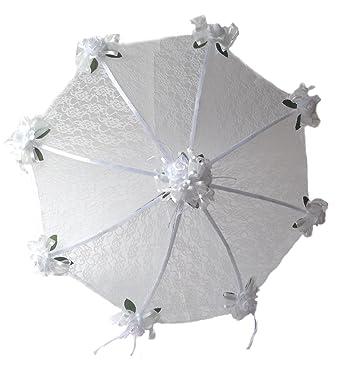 96b6d6716f3b Amazon.com: Decorated Bridal Shower Wedding White Lace Umbrella ...