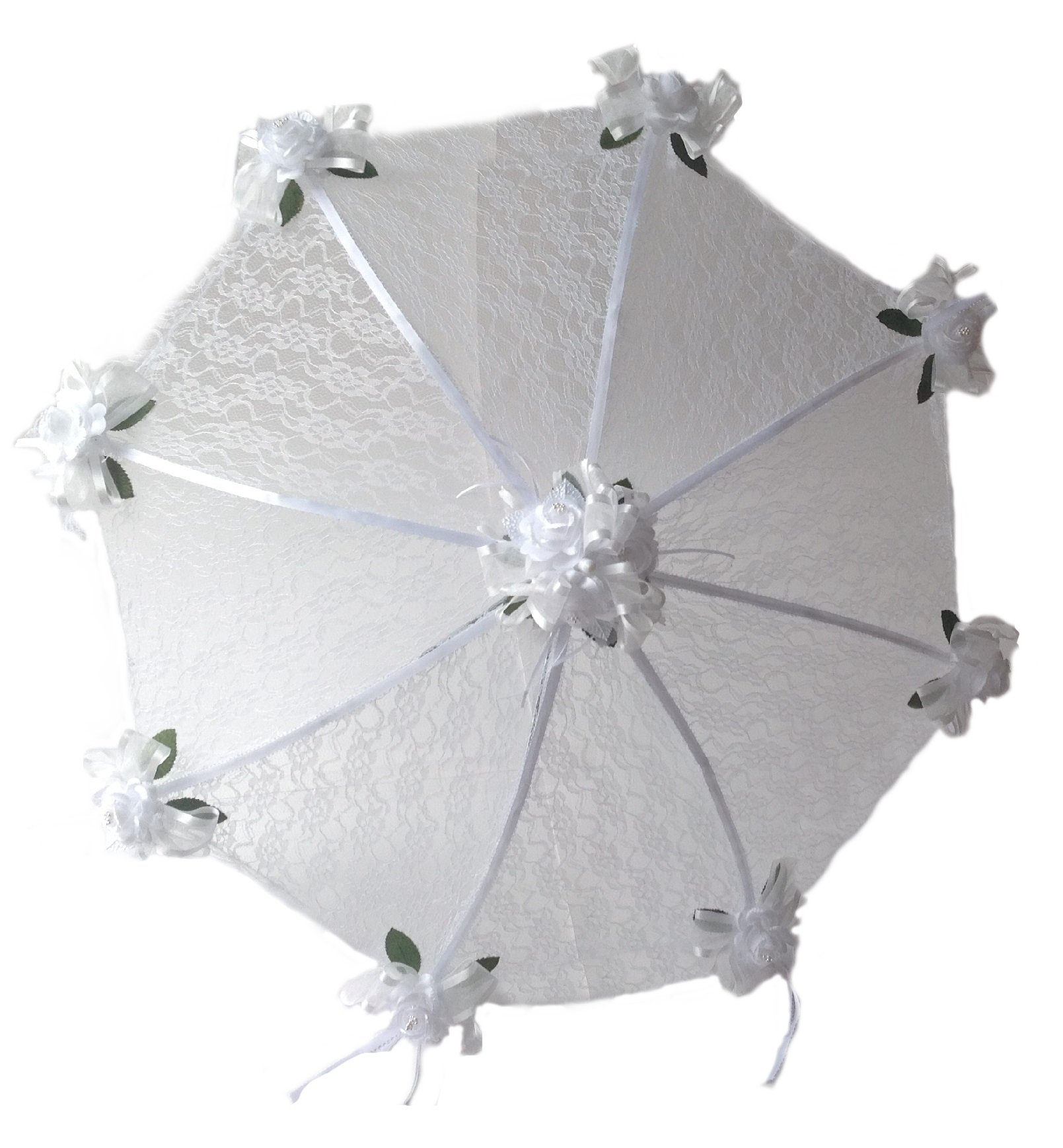 36'' Bridal Shower Wedding White Lace and Roses Umbrella