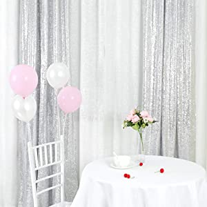 TRLYC Sequin Curtains Backdrops Glitter Silver Backdrop 2 Panels 2FTx8FT