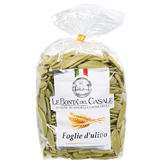 Premium Foglie d'Ulivo Artisanal Pasta - 500g (1.1 lb) | Imported From Italy, Olive Leaf Shape, Three Ingredients - The Finest Durum Semolina Wheat, Spinach, Water, by Le Bonta' Del Casale