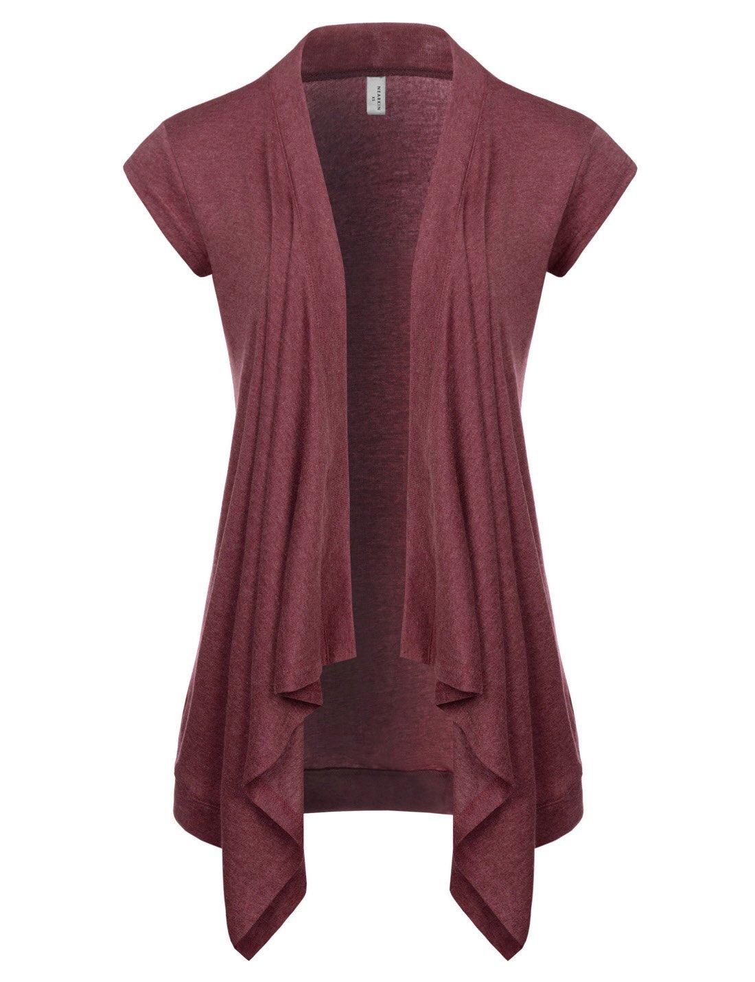 NEARKIN (NKNKWCD692S) Women Daily Casual Slim Cut Look Short Sleeve Open Front Cardigans WINE US M(Tag size L)