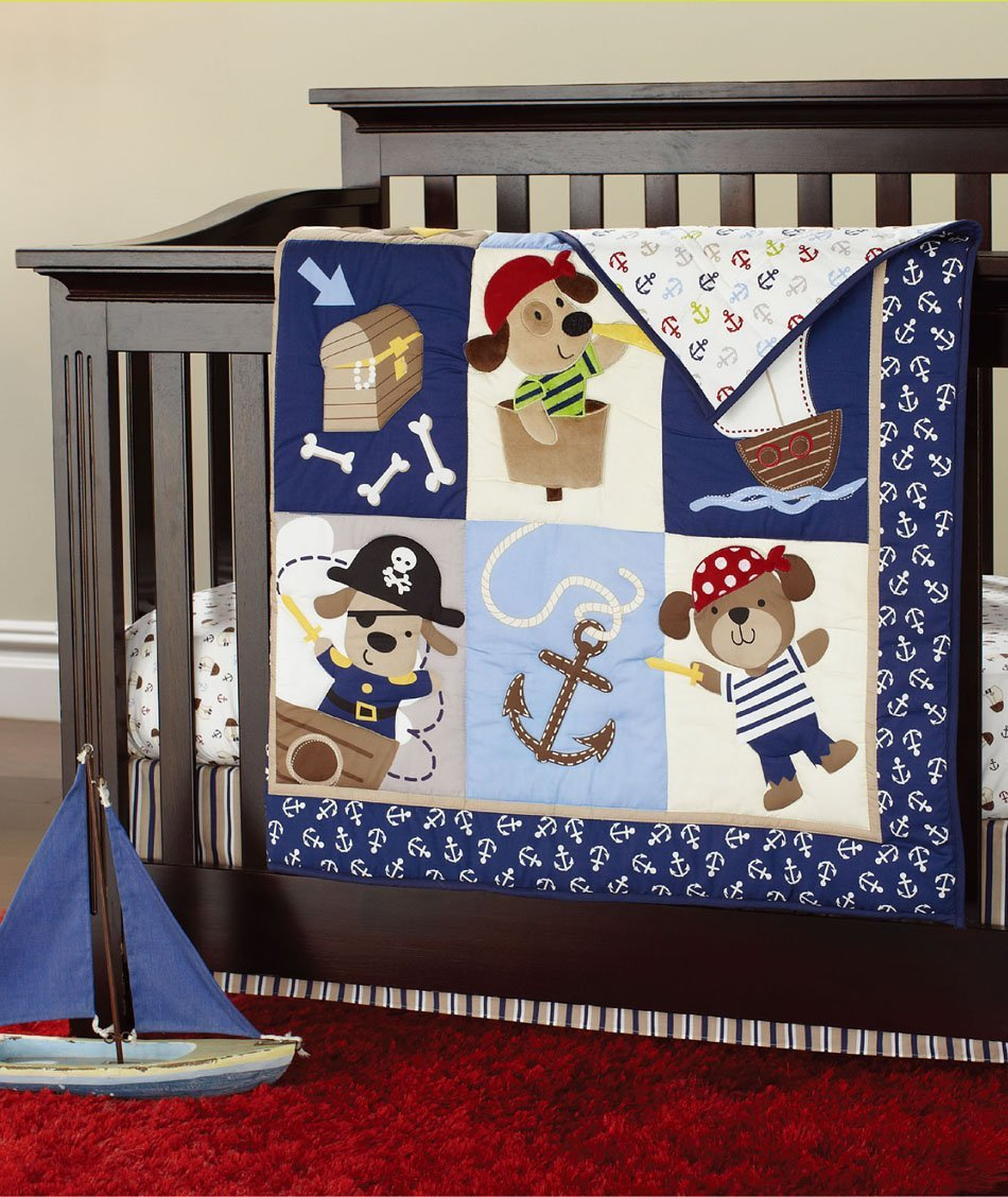 NAUGHTYBOSS Boy Baby Bedding Set Cotton 3D Embroidery Pirates Of the Caribbean Quilt Bumper Bed Skirt Fitted 7 Pieces Set Blue