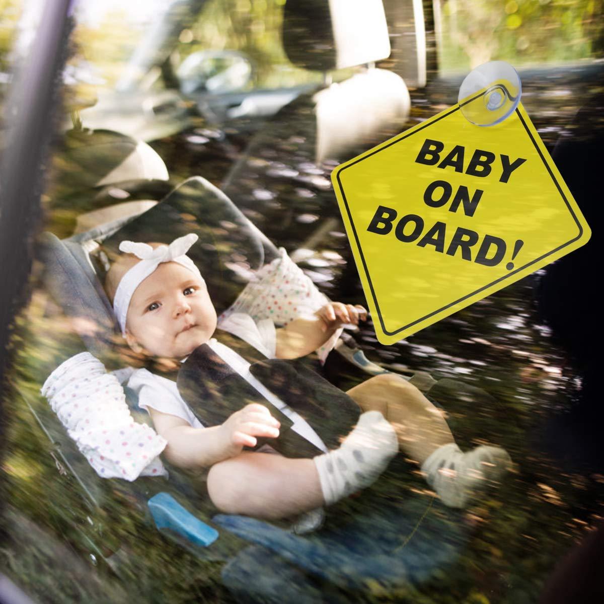 Baby an Bord Autoaufkleber Gelb AIEVE 6 St/ück Auto Aufkleber Kind Autokleber Baby Schilder Sicherheitsschilder mit Suagnapf f/ür Auto Kinder Sicherheit Baby