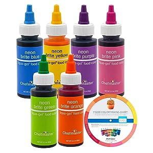 U.S. Cake Supply Liqua-Gel 2.3-Ounce Neon Cake Decorating 6-Color Kit