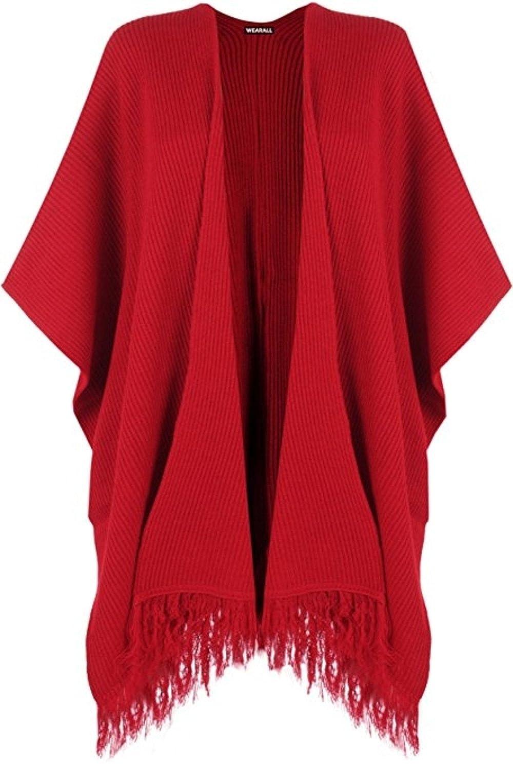 Sevello Clothing Women's Knitted Tassle Baggy Cardigan Cape Jacket 4-16 ONE SIZE Sevelo Clothing