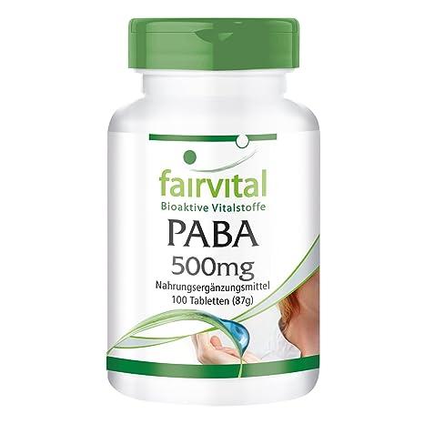 fairvital - PABA - 100 comprimidos de vitamina B10 (ácido para-aminobenzoico) -