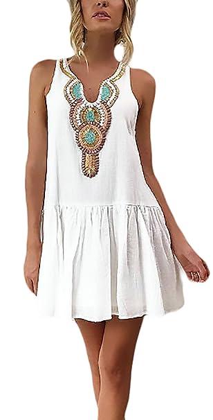 0bd1444f4 Vestidos Verano Mujer Cortos Elegante Sin Mangas V Retro Cuello Vestidos  Playa Mujer Blanco Patrón Etnica Estilo Moda Anchos Casual Niña Mini Vestido  Dress  ...