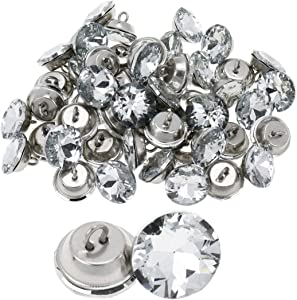 """Meprotal 50pcs 0.71"""" Rhinestone Crystal Buttons with Metal Loop Diamante Round Buttons Sewing Sofa Bed Headboard Furniture DIY Crafts Decoration"""