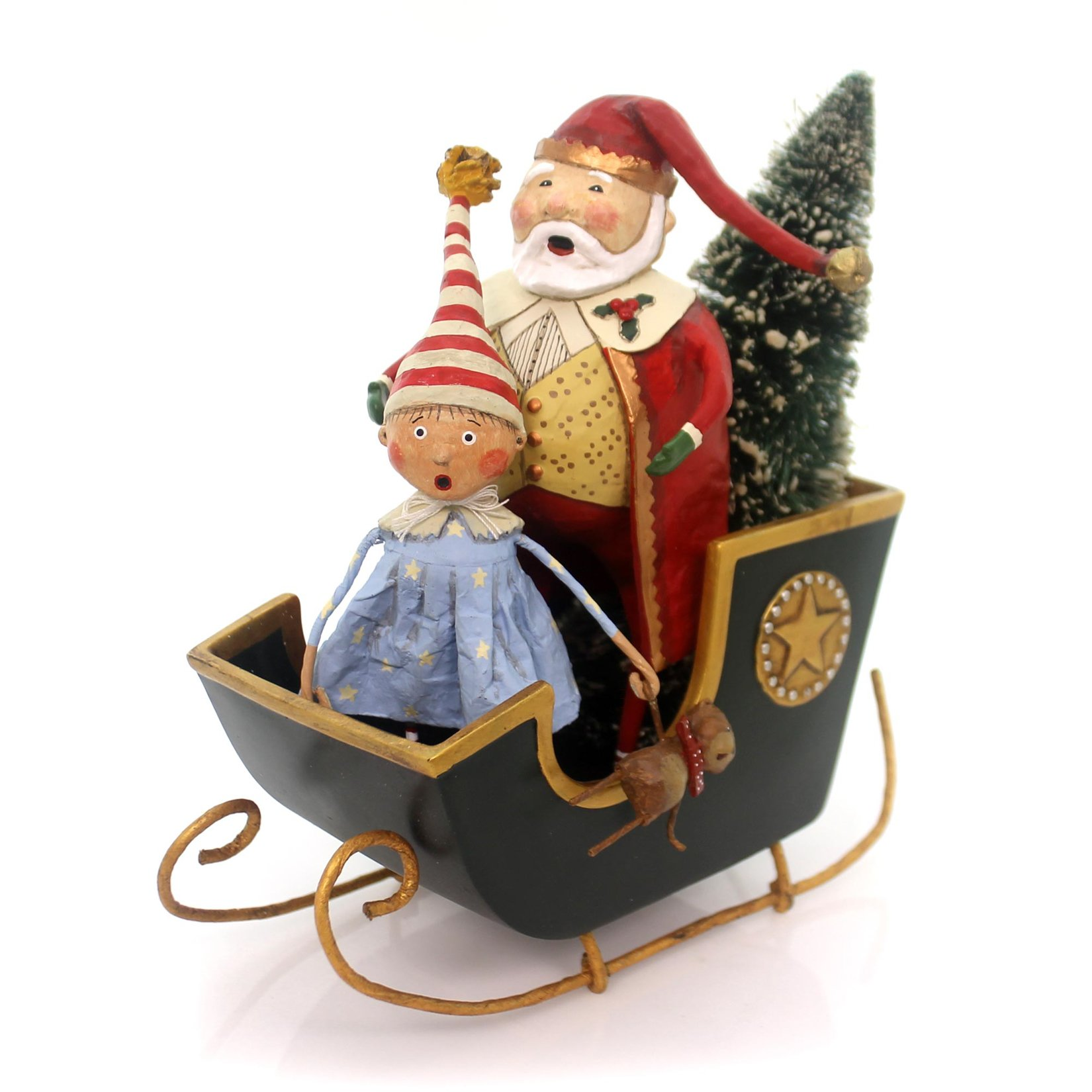 Lori Mitchell SANTA'S SLEIGH RIDE FIGURINE Little Girl W/ Bear Christmas 11016