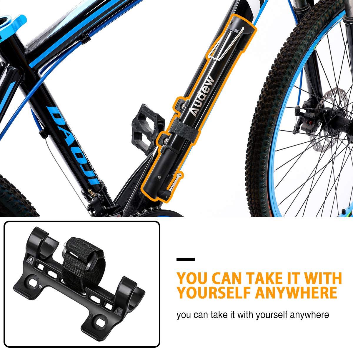 Audew Mini Bomba de Aire de Mano para Bicicleta 160PSI Cyclocross y Bicicletas H/íbridas Monta/ña V/álvula Presta y Schrader para Carretera BMX