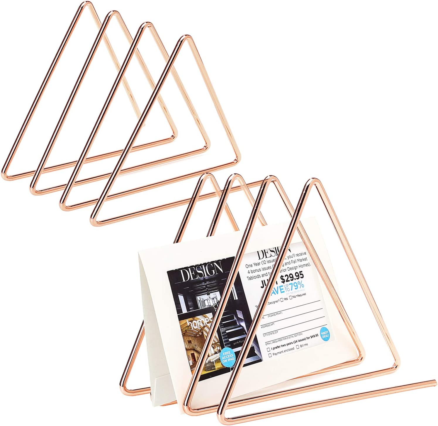 GoldOrcle 2 Pack Metal Wire File Organizer Desk Organizer, 3 Slot Triangle Magazine File Holder for Office Home Decor, Rose Gold