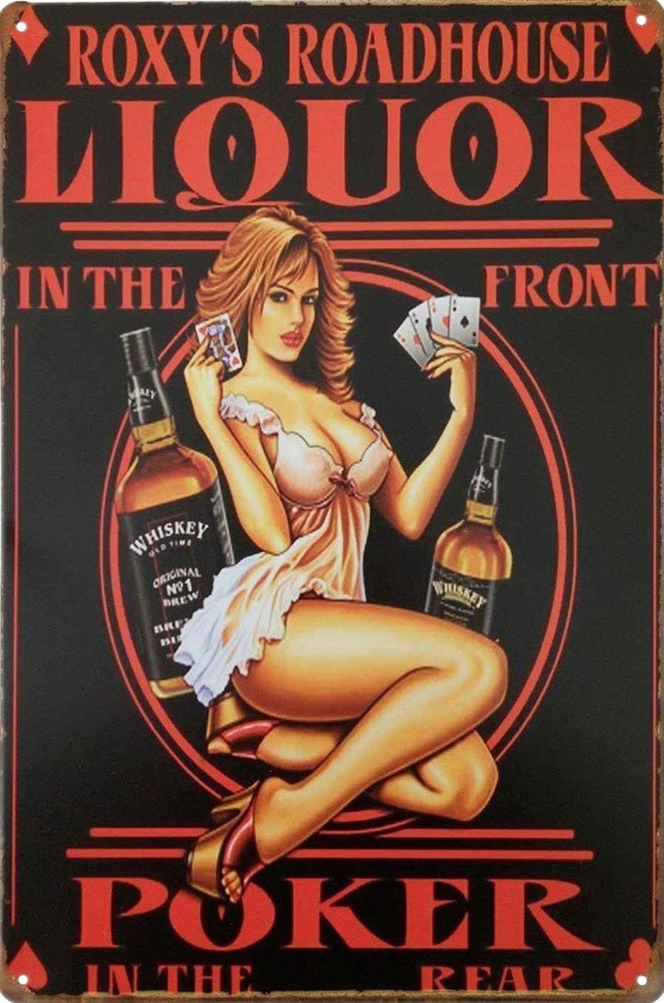 UNIQUELOVER Drink Metal Tin Sign, Whiskey Liquor Pinup Girl Vintage Metal Tin Signs for Home Kitchen Wall Art Pub Bar Decor 12 X 8 Inches