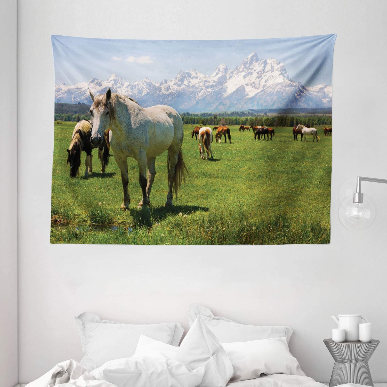 Ambesonne National Parks Home Decor Tapestry, Equestrian Decor Snow Idyllic Mountain Peaks Arabian Horse Art Prints, Wall Hanging for Bedroom Living Room Dorm, 80 W X 60 L Inches, Multi