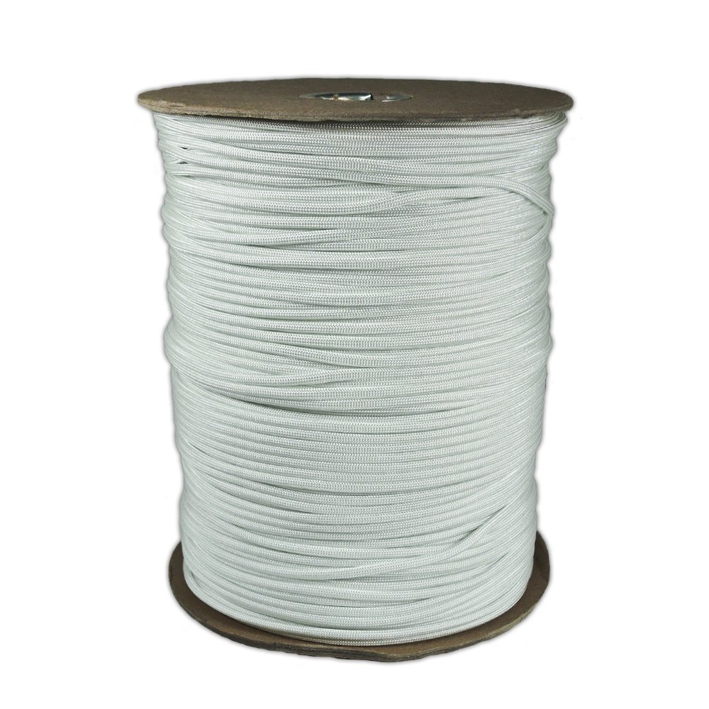 PARACORD PLANET 1000' Foot Spool White Parachute Cord 7-Strand Core 550 Cord