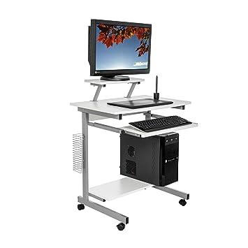 Harima   Capilano Professioneller Kompakt Computer Schreibtisch Weiß  Computerwagen Computertisch Bürotisch PC Tisch Druckerablage Büromöbel