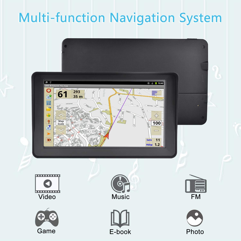 Aonerex Syst/ème de Navigation GPS avec Pare-Soleil pour Voiture Camion et Camping-Car /Écran Tactile 7 8 Go 256 Mo avec mises /à Jour des Cartes de lUE 2019